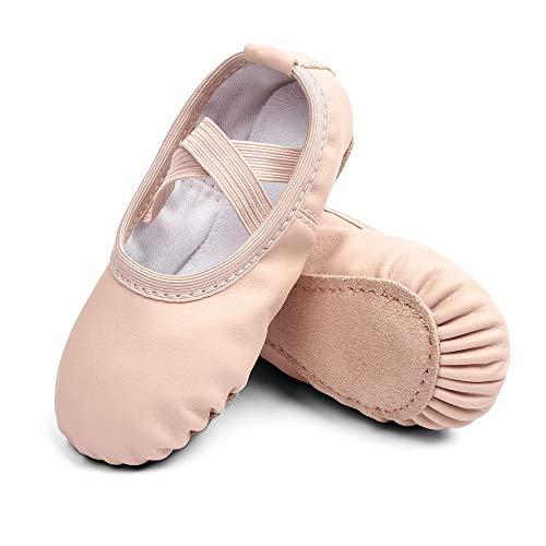 STELLE Girls Ballet Dance Shoes Slippers for Kids Toddler (Ballet Pink(Beige), 9MT)