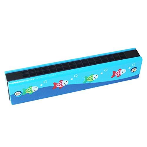 Zweireihige 16-Loch-Kinder aus Holz gemalte Mundharmonika Kreative Mundharmonika-Aufklärung Frühpädagogisches Spielzeug Musikinstrument Candybarbar Blauer Fisch #