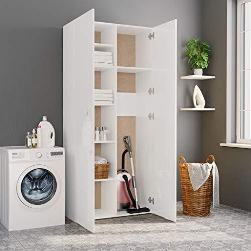 UnfadeMemory Lagerschrank Aufbewahrungsschrank Spanplatte Regalschrank Mehrzweck Standschrank Wohnzimmer Schlafzimmer Holzschrank Universalschrank 80 x 35,5 x 180 cm (Hochglanz-Weiß)