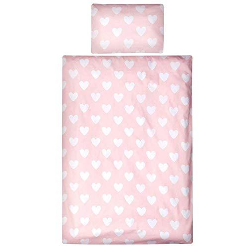Aminata Kids süße Biber-Kinder-Bettwäsche-Set Herzen, Mädchen - Bettbezug 100x135 cm + 40 x 60 cm aus Baumwolle mit Reißverschluss, unsere Kinderbettwäsche mit Herz-Motiv ist weich & kuschelig, Rose