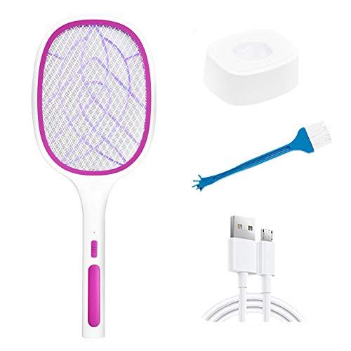 jwj Lámpara de asesino de mosquitos USB para interiores 2 en 1 de mano eléctrica para matar moscas, trampas de insectos LED de luz UV recargable USB anti mosquitos raqueta matador mosquito (Color: 03)