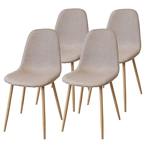 Albatros FANO Set de 4 Retro sillas de Comedor Beige, SGS Probado