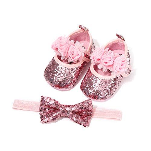 EDOTON Schuhe Haarband Set für Baby Mädchen Blume Lauflernschuhe Kleinkind Anti-Rutsch-Weiche Taufe Prinzessin Schuhe Sneaker (0-6 Monate, Rosa)