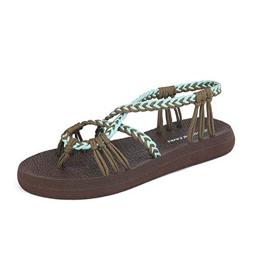 DREAM PAIRS Women's Khaki Turquoise Flat Sandals Summer Braided Strap Yoga Comfortable Beach Sandals Size 11 M US Athena_12