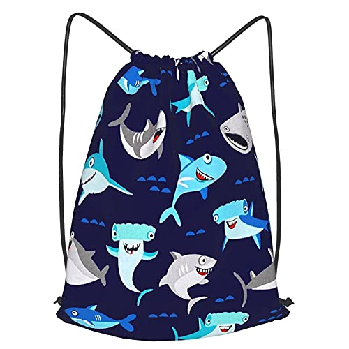 VJSDIUD Bolsa de viaje Navy Cute Shark Drawstring Strap Pack Bag Gym Sports String Backpack For Teens Men And Women medium black