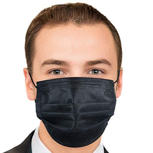 Hengd 50 Stück Einweg- Gesichtsmasken Mund Nasen Schutzmaske Einmal-Mundschutz 3-lagig (Schwarz)