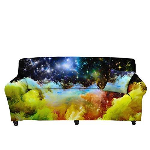 chaqlin Funda para sofá de silla superelástica, con estampado de cielo estrellado, protector de muebles, lavable y elástico para sofá de 4 cojines