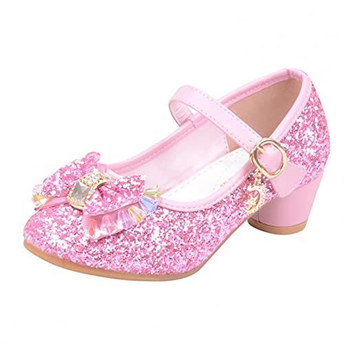 JDGY Zapatos de princesa para niña, 20 unidades, bailarinas, con tacón brillante, para fiestas, niños, tacones altos, carnaval, actuaciones, zapatos de niños, Rosa., 29