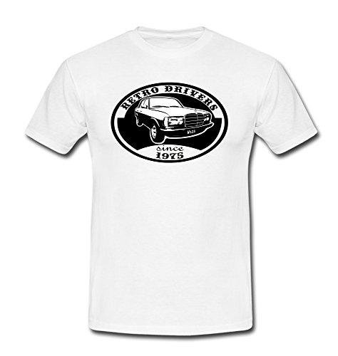 T-Shirt w123 230E 280E Limousine Auto Youngtimer Oldtimer Retro Vintage weiß/schwarz Gr. L