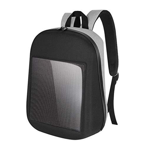perfk Multifunktionaler Rucksack Tasche mit integriert LED-Anzeige professioneller dünner Laptop-Rucksacktasche - Grau