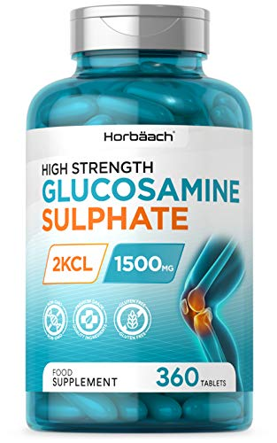 Glucosamine Sulphate 2KCL 1500mg | 360 Tablets | High Strength | Up to 1 Year Supply | Non-GMO, Gluten Free Supplement