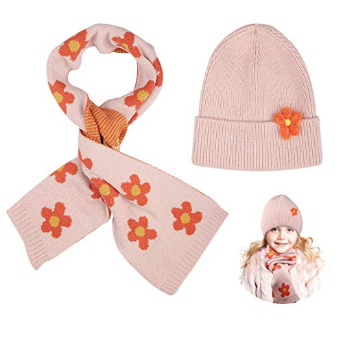 Kids Winter Beanie Hat Scarf Set, Fashionable Flower Hat and Scarf Set for Girls Warm Knit Cold Weather Set in 6 Colors Pink