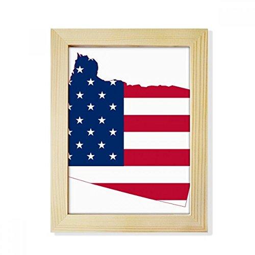 DIYthinker Oregon USA-Karte Stern & Streifen -Flagge Desktop-HÖlz-Bilderrahmen Fotokunst-Malerei Passend 15.2 x 20.2cm (6 x 8 Zoll) Bild Mehrfarbig