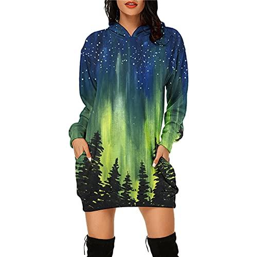 Robe Pull Courte Femme Sweat à Capuche Oversize Sexy Chic Manche Longue avec Poches, Mini Jupe Hoodie Sweatshirt Grande Taille Imprimé Ciel étoilé De Forêt Fantastique Chaud Automne Hiver Décontracté