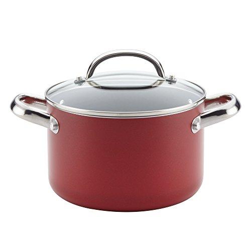 Farberware 22015 Buena Cocina Nonstick Stock Soup Pot/Stockpot with Lid, 4 Quart, Red