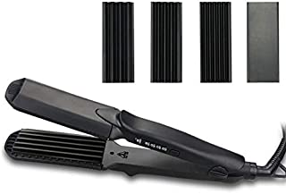 4 in 1 Hair Straightener, Professional Interchangeable Plates Flat Iron Curler Curling Curly Wavey Hair Corn Wave Iron Styling Tool
