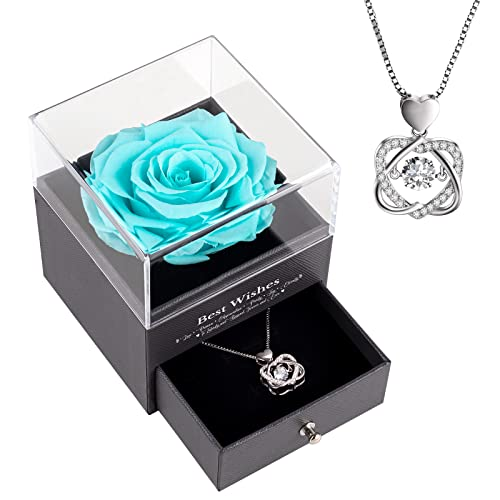 aircover Preserved Real Rose with Heart Necklace 2021 for Her....