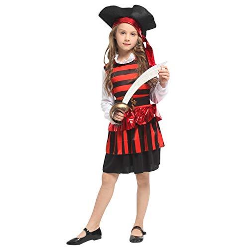 lkouq Halloween Pirata del Caribe Capitán Jack Sparrow Tricornio Disfraz De Cosplay para Niños Chica Party Cap Dress Up L G-0307