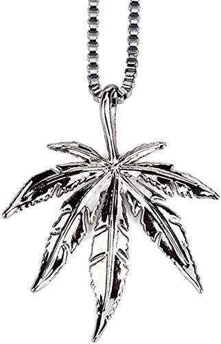 LBBYMX Co.,ltd Collar de Moda para Hombre, Collar con Colgante de Marihuana Chapado en Oro Real de 18 k con Cadena Libre 23 6-Plata Moda