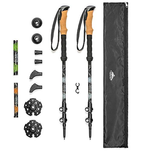 Cascade Mountain Tech Trekking Poles - Aluminum Hiking Walking Sticks with Adjustable Locks Expandable to 54' (Set of 2)
