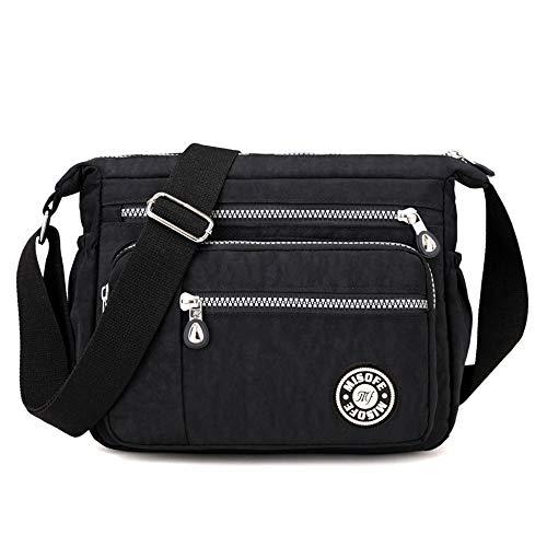 Bolsos de hombro tipo bandolera, de nailon, para mujer, modernos, estilo casual, color Negro, talla Small