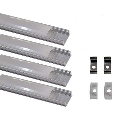 Kit 4x Perfil de Aluminio para Tira Led. Tapa Translucida. Incluye Tapones de extremos y Pestañas de Fijacion, 0 W, 1 metro, 4