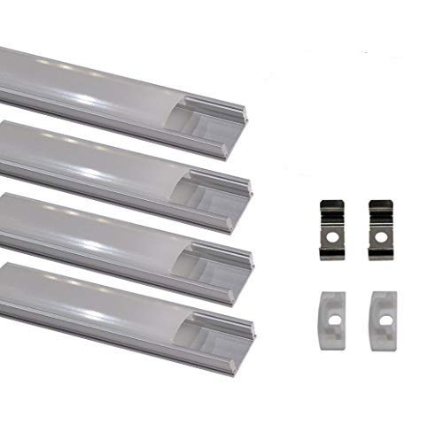 Led Atomant Kit 4x Perfil de Aluminio para Tira Led. Tapa Translucida. Incluye Tapones de extremos y Pestañas de Fijacion, 0 W, 1 metro, 4