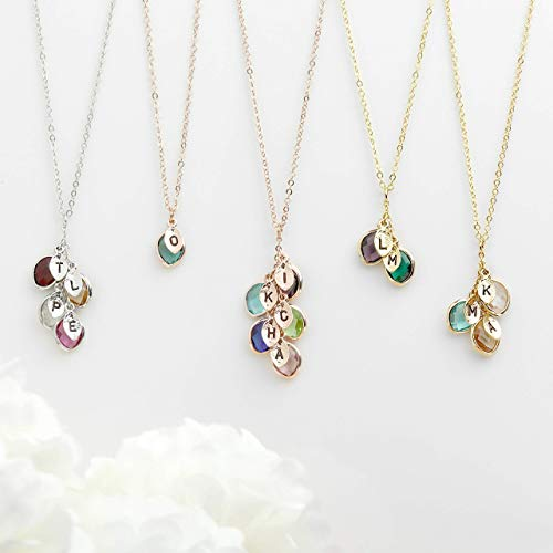 Valentine's Day Gift for Her Personalized Birthstone Necklace for Mothers...