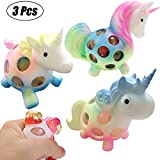 Mesh Unicorn Squishy Balls 3 Pcs Stress Relief Squeeze Toys Sensory Play Hand Fidget Animal Toys for Kids & Adults Autism ADHD Pressure Rubber Balls for Birthday Gifts Party Favors Stocking Stuffers