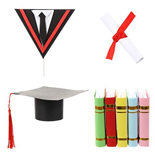 VALICLUD 3 Piezas Toppers de La Torta de Graduación Vestido Académico Gorras de Graduación Palillos de La Torta Palillo de Dientes 2021 Decoración de La Torta de La Fiesta de Graduación