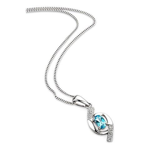 Orovi Schmuck Damen 0.01 Ct Diamant Halskette mit Anhänger Edelstein/Geburtsstein Topas in blau und Diamanten Brillanten Kette aus Weißgold 9 Karat / 375 Gold, länge 45 cm