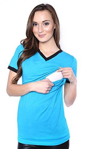 Mija - Belle 2 en 1 Chemise de maternité et de soins 9055 (EU 44, Turquoise)