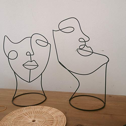 RISEON Set of 2 Modern Abstract Faces Metal Line Figure Art, Metal Face Outline, Geometric Hat Stands Metal Hat Cap Rack Wigs Holder, Wire Tabletop Jewellry Display Stand Minimalist Art Decor
