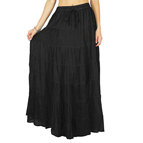 Phagun Falda Larga para Mujer de Falda Larga de algodón con gradas Bohemio Gitano Ropa de Playa