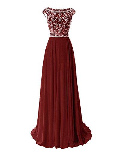 Erosebridal Damen Abendkleid Lang Chiffon Ballkleid mit Strass Burgund DE38