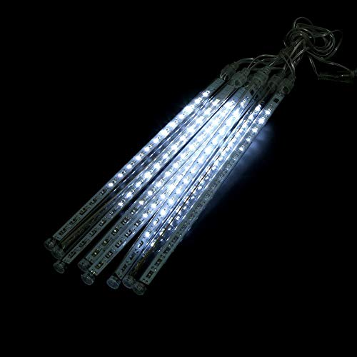 LED Meteor Shower Lights Falling Rain Lights, Christmas Lights Outdoor 8 Tube Snow Falling Icicle Cascading Lights for Xmas Tree Halloween Decor Party(EU-Cold white)