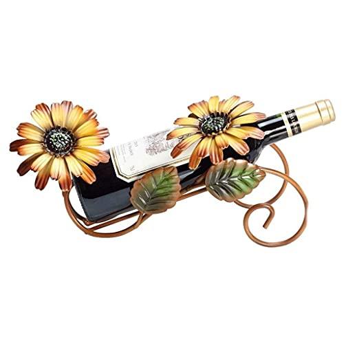 DAKEUR Estante de Vino Europeo Sun Flower Estante de exhibición de Botellas de Vino, Robusto y Duradero gabinete de Vino de Metal de Hierro, artesanías de Sala de Estar caseras, Adornos Decorativos