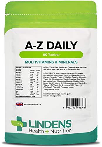 Lindens Multivitamin A-Z Daily Tablets | 90 Pack | Perfect Vitamin & Mineral Balance of Vitamin A, C, D, E, B1, B2, B3, B6, B12, Folic Acid, Magnesium, Iron, Zinc & Iodine