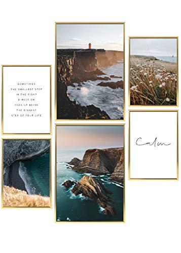 Heimlich® Premium Poster Set   Stilvolles Set mit passenden Bilder als Wohnzimmer Deko   2 x DIN A3 & 4 x DIN A4 - ca. 30x42 & 21x30   Bilderrahmen Aluminium Gold » Meer und Strand «