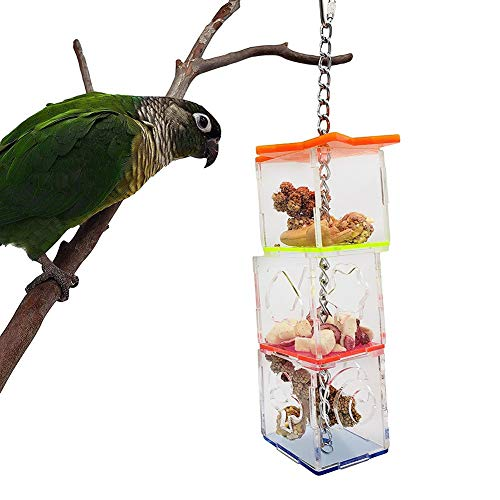 Gancon Mehrschichtiger Papageien-Futterautomat für Käfigbalkon, Vogelfutter-Futterbox Transparenter Acryl-Futterhalter