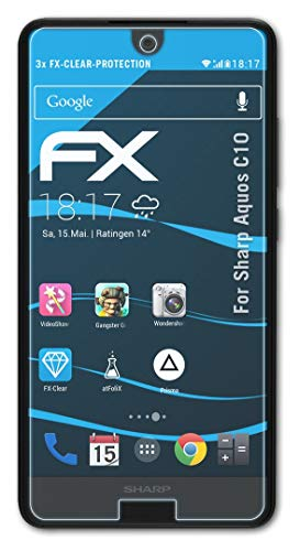 atFolix Schutzfolie kompatibel mit Sharp Aquos C10 Folie, ultraklare FX Bildschirmschutzfolie (3X)