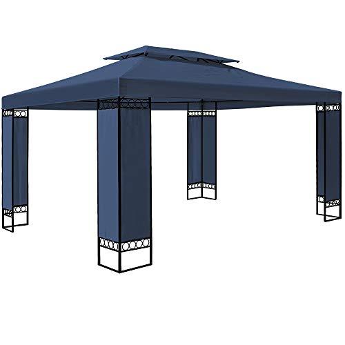 Deuba Pavillon Elda 3x4m Seitenwände Metall Gestell Eckig 12m² Festzelt Partyzelt Gartenlaube Gartenzelt Gartenpavillon Blau