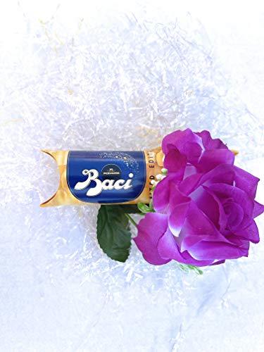 Perugina Idea Regalo -Regalo Mamma- Regalo Papà - Perugina Tubo Baci Gold Caramel 37,5 gr Limited Edition + Rosa Viola Artificiale - Festa della Mamma