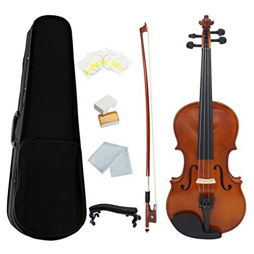 ACAMPTAR 1/4 Violine Natur Akustik Massiv Holz Fichte Flamme Ahorn Furnier Violine Geige mit Etui Kolophonium Bogen Saiten Schulter StüTze