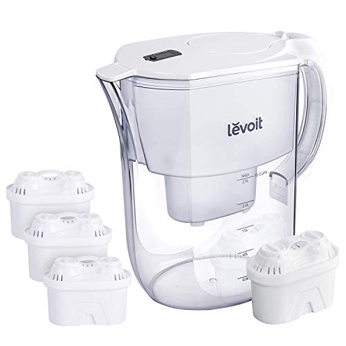 LEVOIT LV110WP Water Filter Pitcher, 10 Cup Large Purifier (BPA-Free) with 4 Filters & Electronic Indicator, 5-Layer Filtration for Chlorine, Lead, Heavy Metals and Odor, White