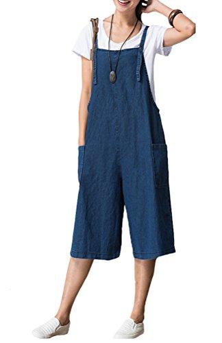 Vogstyle Women's Suspenders Romper Harem Jumpsuit Pants Style 4-Blue Large