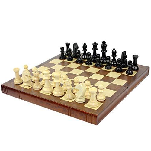 Torneo de Ajedrez Profesional de madera hecho a mano juego de ajedrez de madera plegable Junta tallado mano de ajedrez con fieltro Juegos de mesa Internacionales Vintage Base ( Size : 34×32.5×2.7cm )