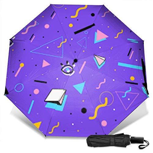 Retro Vintage 80er Jahre Fashion Styleprint Handbuch Vinyl Dreifacher Regenschirm Sonnenschutz UV-Schutz Winddichter Regenschirm Reiseschirm