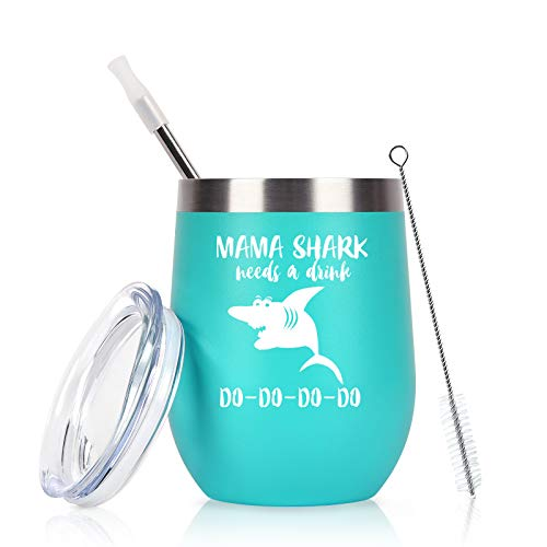 Mama Shark Needs a Drink Do Do Wine Tumbler, Mother's Day Birthday Gifts for Mom New Mom Mommy Women Wife Her, 12 Oz Funny Insulated Stainless Steel Wine Tumbler, Mint