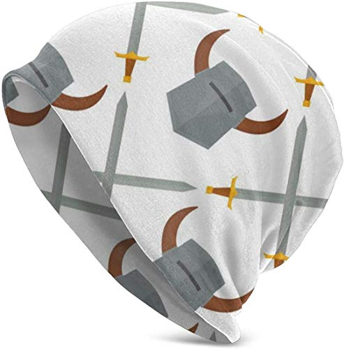 Chevalier Casque Armes Médiévales Héraldique Chevalerie Hiver Bonnet Bonnets en Tricot pour Hommes et Femmes - Chaud, extensible et doux par temps froid Élégant Casquettes de montre de luge - Bonnet